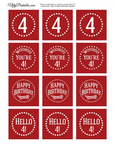 4th Birthday Cupcake Toppers - Red White
