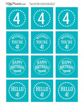 4th Birthday Cupcake Toppers - Turquoise