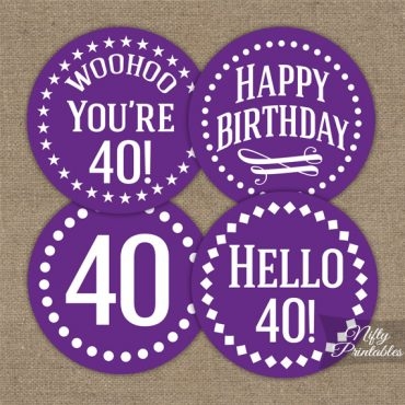 40th Birthday Cupcake Toppers - Purple