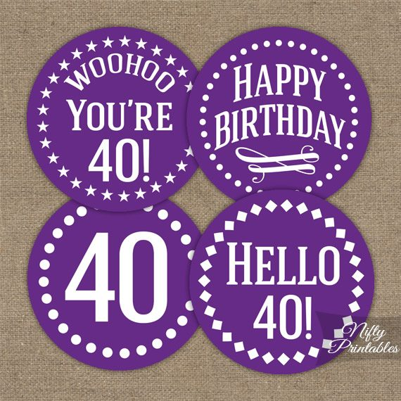 40th Birthday Cupcake Toppers Purple