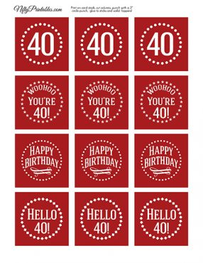 40th Birthday Cupcake Toppers - Red White