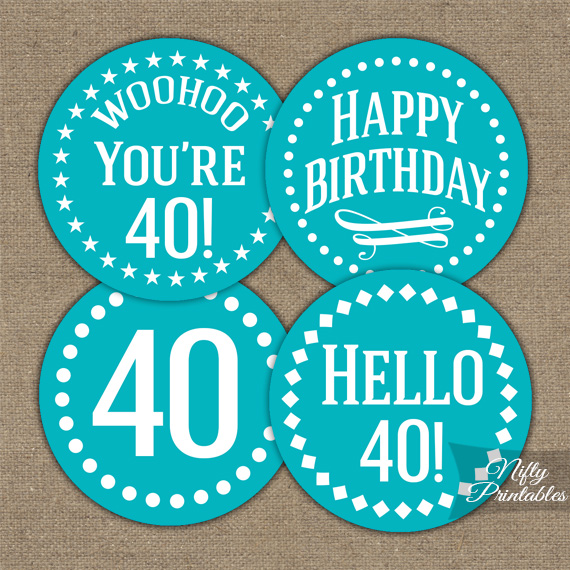 40th Birthday Cupcake Toppers - Turquoise