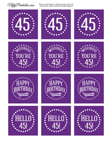 45th Birthday Cupcake Toppers - Purple