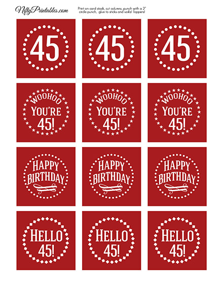 45th Birthday Cupcake Toppers - Red White