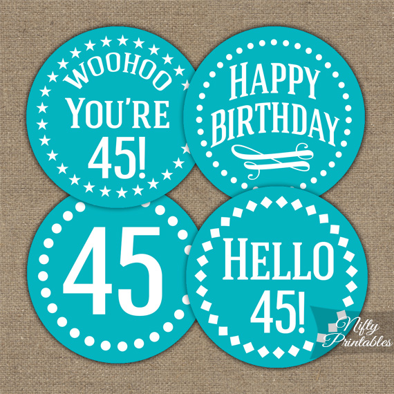 45th Birthday Cupcake Toppers - Turquoise