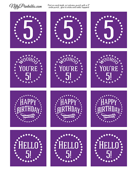 5th Birthday Cupcake Toppers - Purple