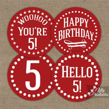 5th Birthday Cupcake Toppers - Red White Impact