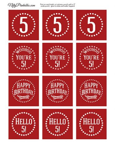 5th Birthday Cupcake Toppers - Red White