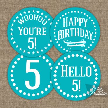 5th Birthday Cupcake Toppers - Turquoise