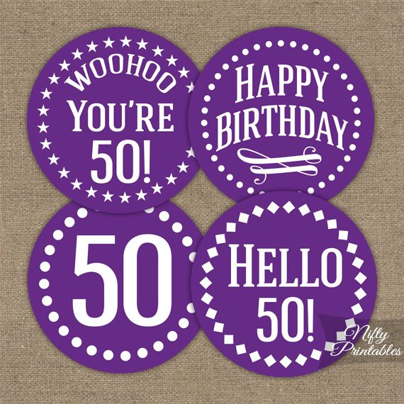 50th Birthday Cupcake Toppers - Purple