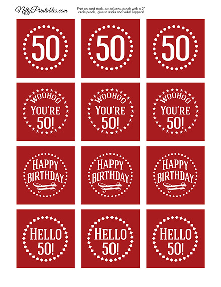 50th Birthday Cupcake Toppers - Red White