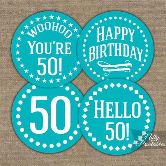 50th Birthday Cupcake Toppers - Turquoise