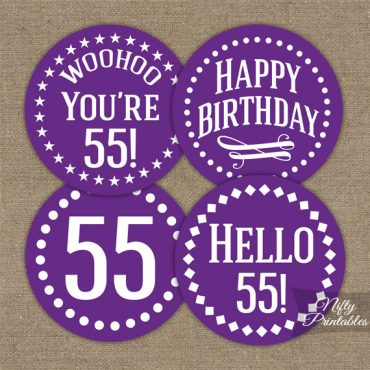 55th Birthday Cupcake Toppers - Purple White Impact