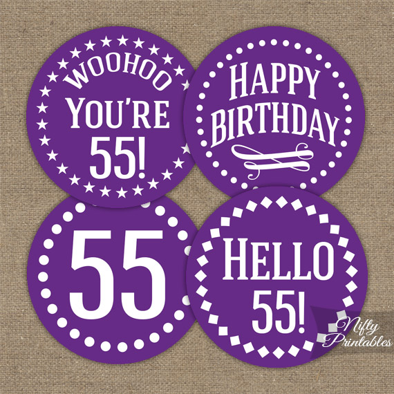 55th Birthday Cupcake Toppers Purple