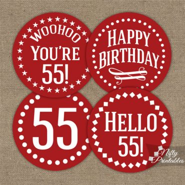 55th Birthday Cupcake Toppers - Red White Impact