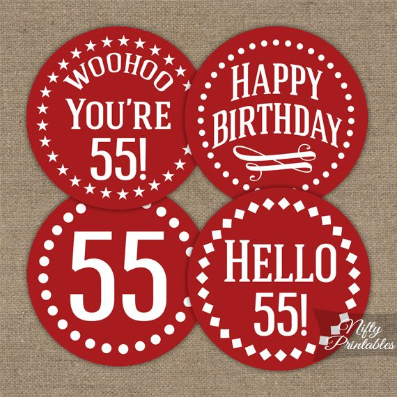 55th Birthday Cupcake Toppers Red White