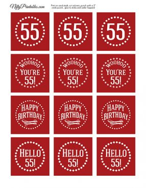 55th Birthday Cupcake Toppers - Red White