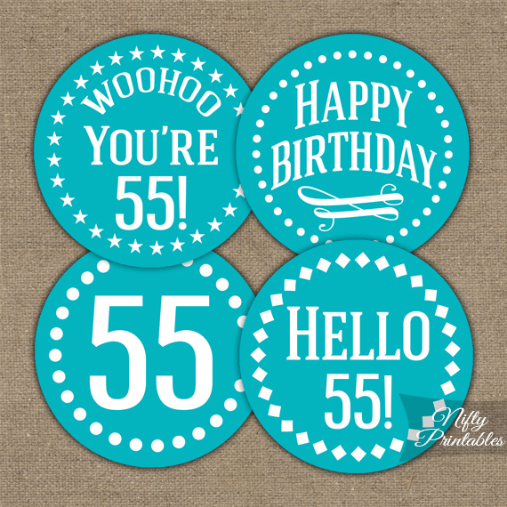 55th Birthday Cupcake Toppers Turquoise