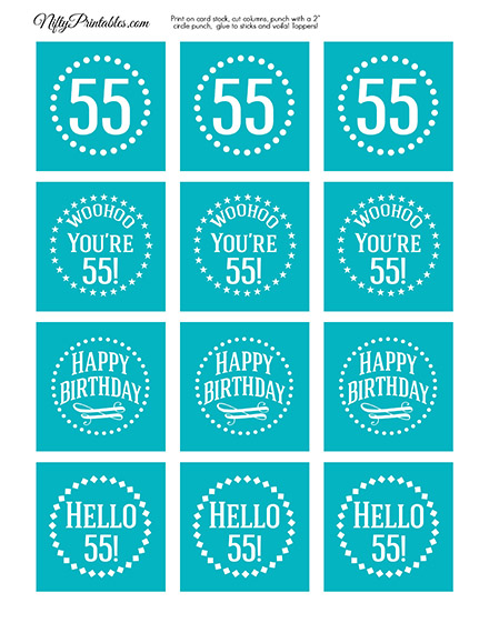 55th Birthday Cupcake Toppers - Turquoise