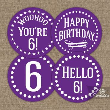 6th Birthday Cupcake Toppers - Purple