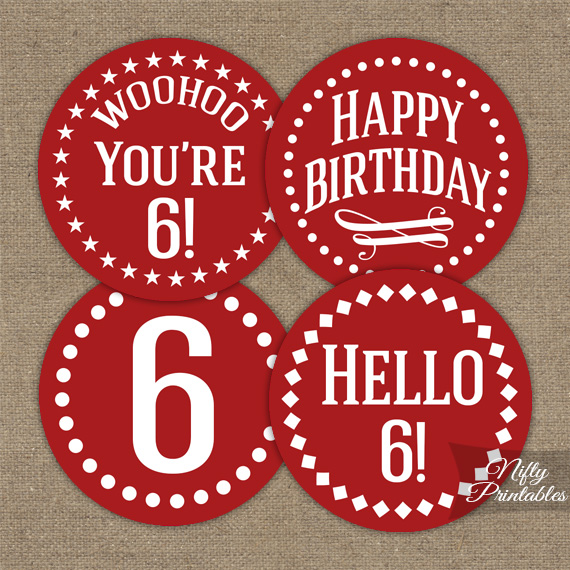 6th Birthday Cupcake Toppers - Red White
