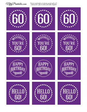 60th Birthday Cupcake Toppers - Purple