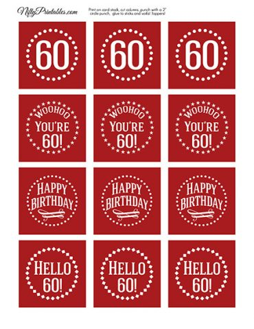 60th Birthday Cupcake Toppers - Red White