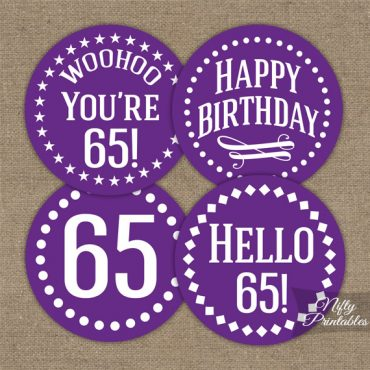 65th Birthday Cupcake Toppers - Purple White Impact