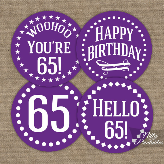 65th Birthday Cupcake Toppers - Purple