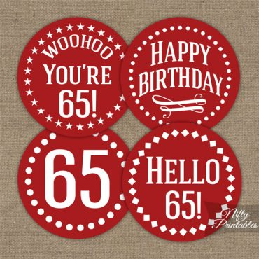 65th Birthday Cupcake Toppers - Red White