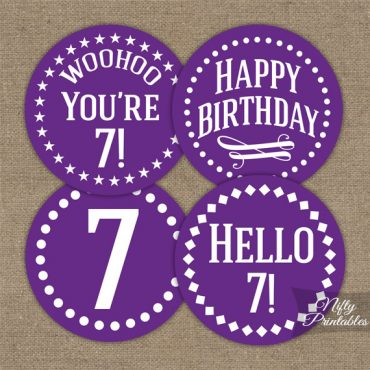 7th Birthday Cupcake Toppers - Purple White Impact