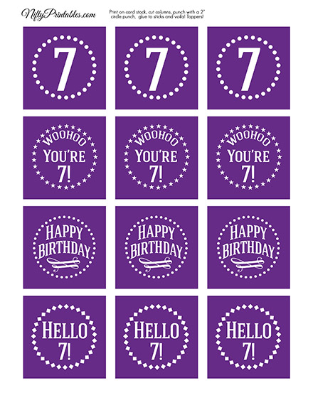 7th Birthday Cupcake Toppers - Purple