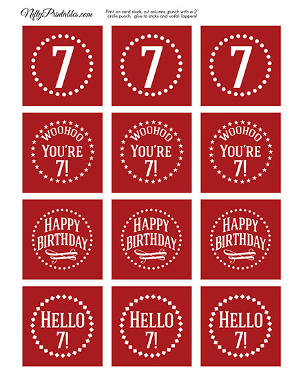 7th Birthday Cupcake Toppers - Red White