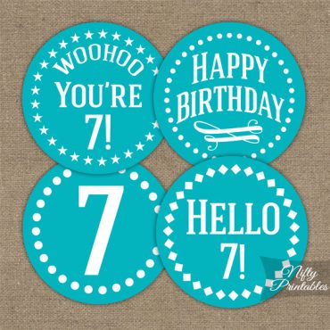 7th Birthday Cupcake Toppers - Turquoise