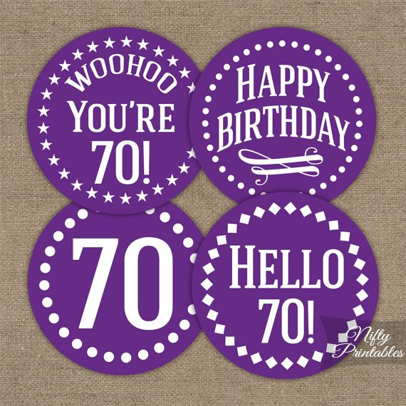70th Birthday Cupcake Toppers - Purple