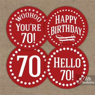 70th Birthday Cupcake Toppers -Red White Impact