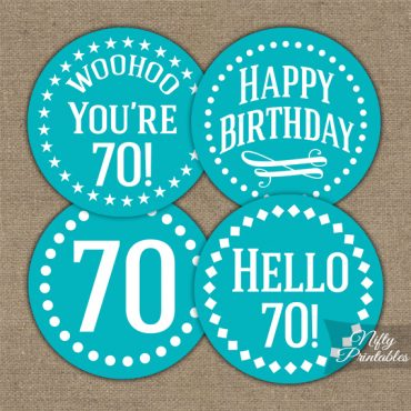 70th Birthday Cupcake Toppers - Turquoise