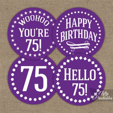 75th Birthday Cupcake Toppers - Purple White Impact