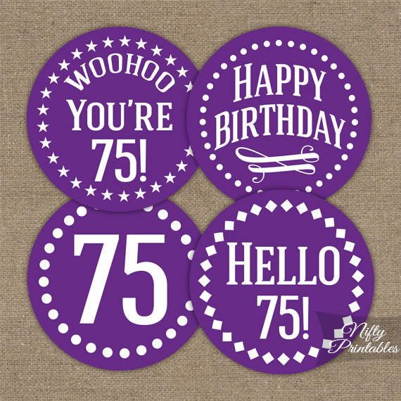 75th birthday cupcake toppers purple nifty printables for 75th birthday decoration