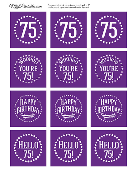 75th Birthday Cupcake Toppers - Purple