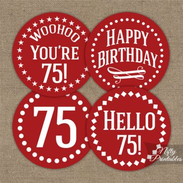 75th Birthday Cupcake Toppers - Red White