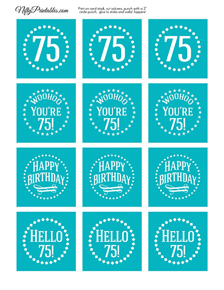 75th Birthday Cupcake Toppers - Turquoise