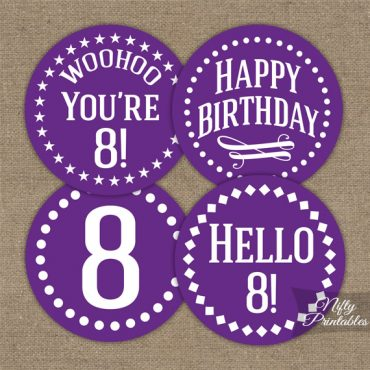 8th Birthday Cupcake Toppers - Purple White Impact