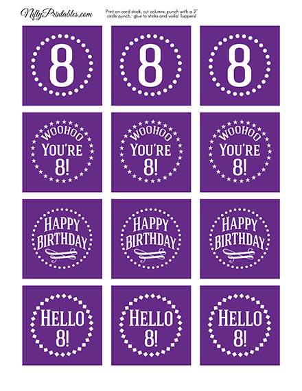 8th Birthday Cupcake Toppers - Purple