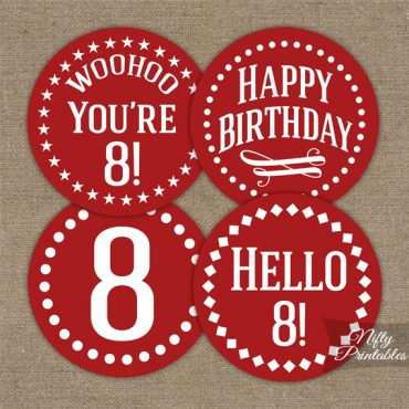 8th Birthday Cupcake Toppers - Red White