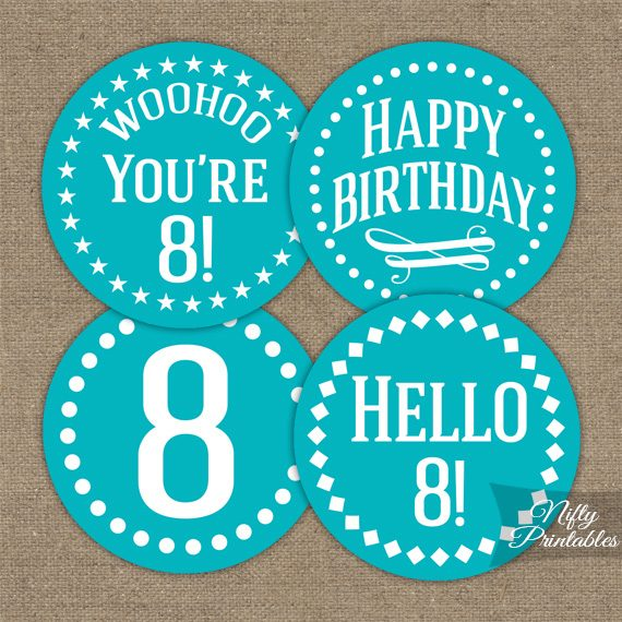 8th Birthday Cupcake Toppers - Turquoise