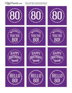 80th Birthday Cupcake Toppers - Purple