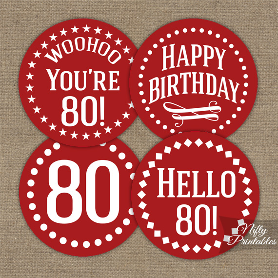 80th Birthday Cupcake Toppers - Red White
