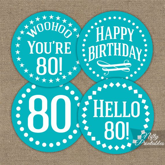 80th Birthday Cupcake Toppers - Turquoise
