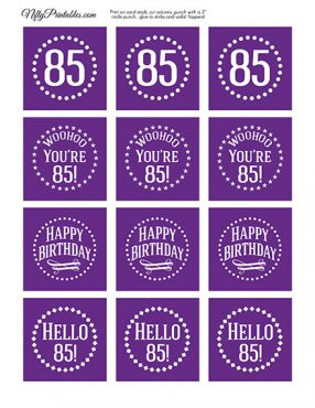 85th Birthday Cupcake Toppers - Purple